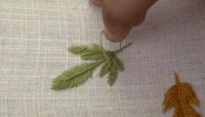 гладь пошагово вышивка лист охра7