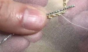 Пришиваем серебряную нить