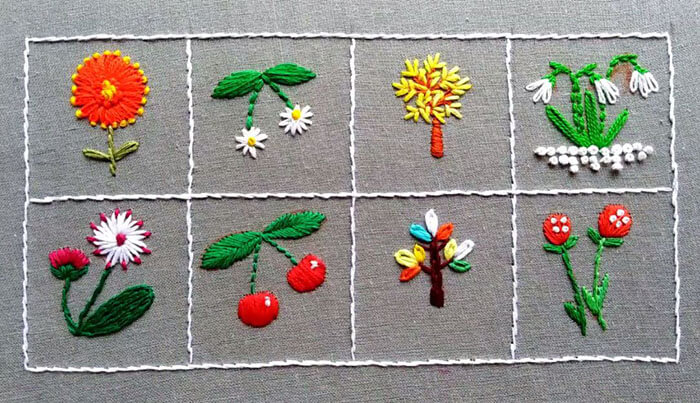 Вышивка гладью схемы для начинающих пошагово: 8 весенних цветов
