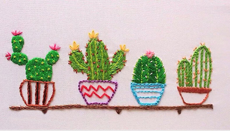 Вышивка гладью кактусы: 17 + схематичных рисунков, 40 + фото