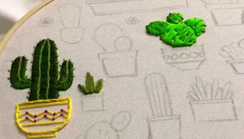 вышивка гладью кактусы 7