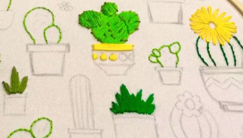 Вышивка гладью кактусы