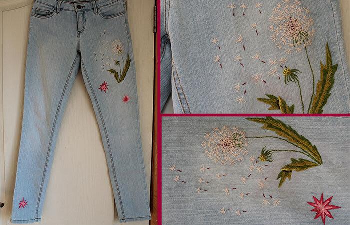 вышивка гладью на джинсе