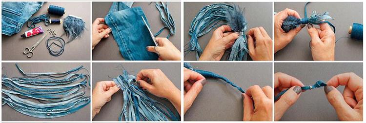 как сделать ожерелье из джинсы