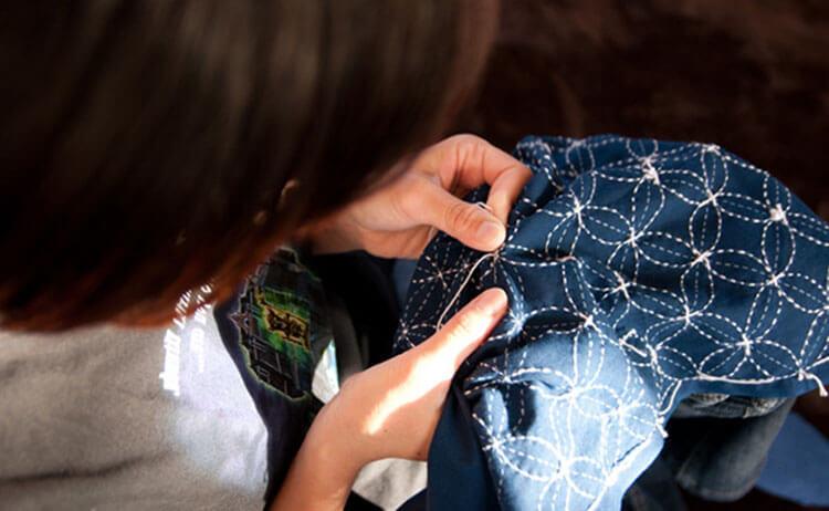 японская вышивка сашико девушка