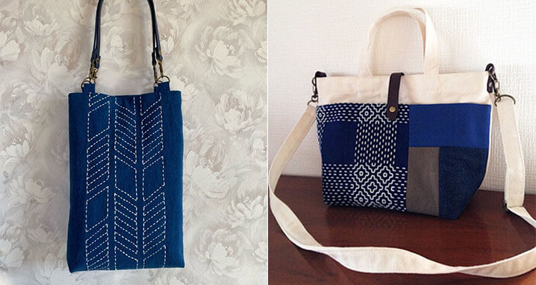 японская вышивка сашико сумки
