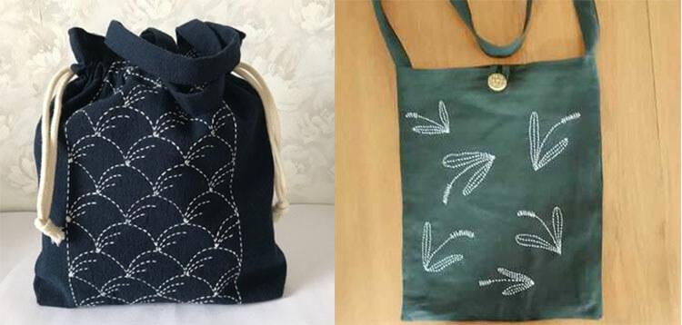 японская вышивка сашико две сумки