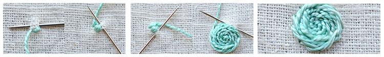 вышивка цветка стебельчатым швом