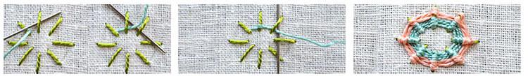 вышивка цветка обвивкой 2