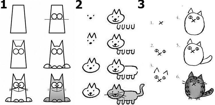 как нарисовать кошек