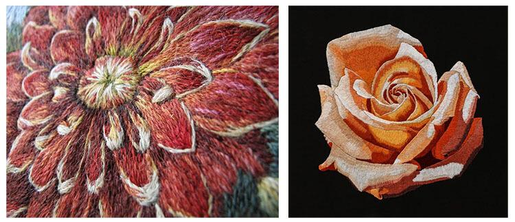 георгин и роза гладью