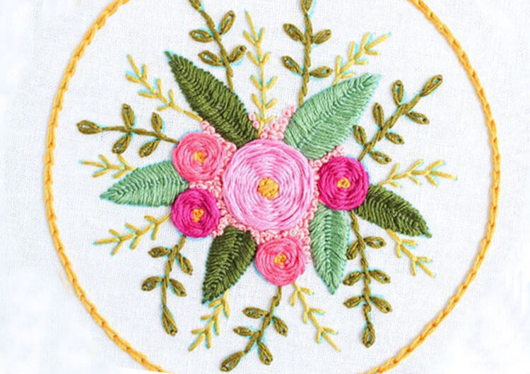 цветы вышитые гладью 2