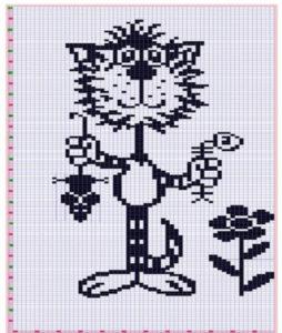 схема вышивка кошки крестом 2