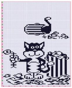 схема вышивка кошки крестом 1