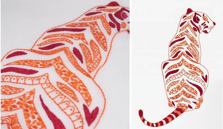 тигр вышитый полосами