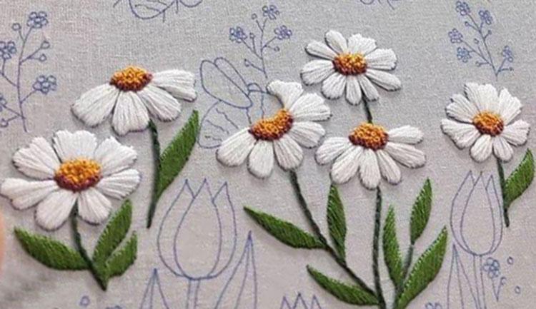 вышивка цветов для начинающих 7