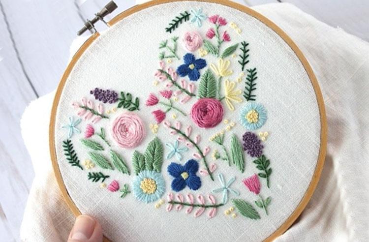 цветы вышитые гладью 8
