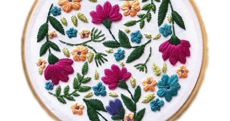 цветы вышитые гладью 10