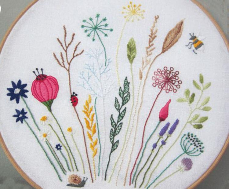 цветы вышитые гладью 15