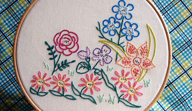 цветы вышитые гладью 14