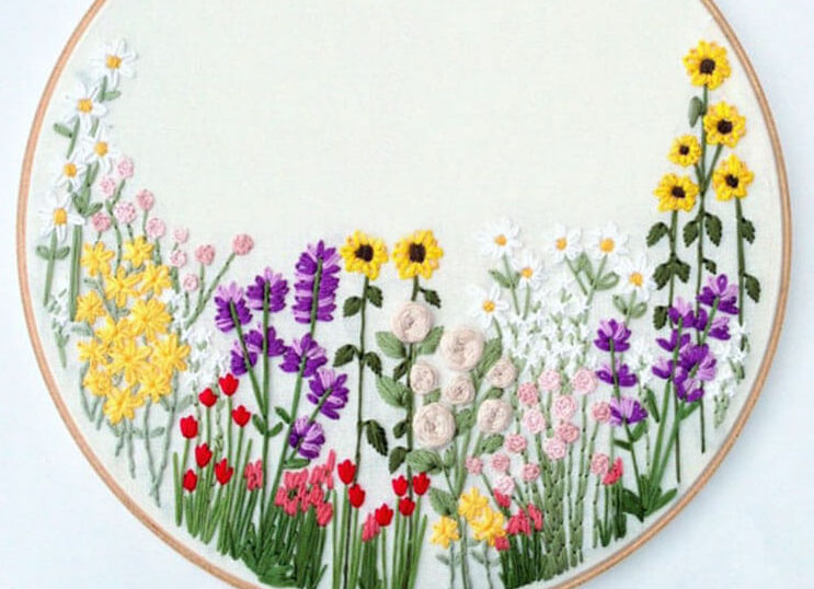 цветы вышитые гладью 13