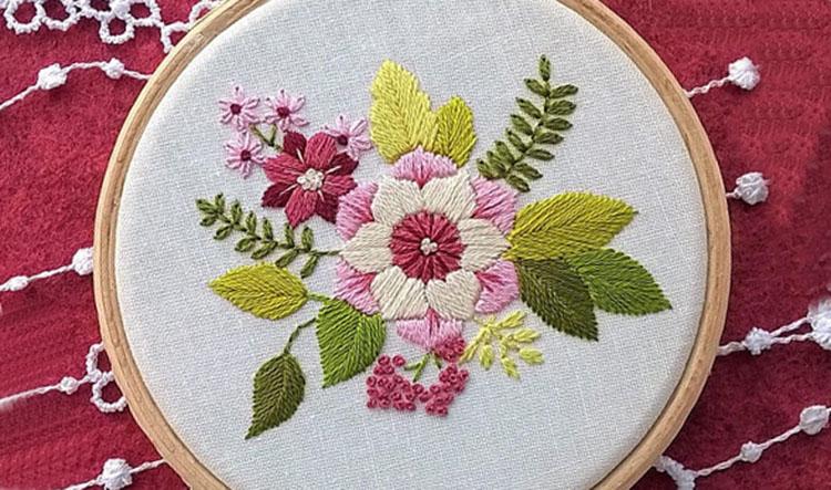 вышивка цветов для начинающих 12
