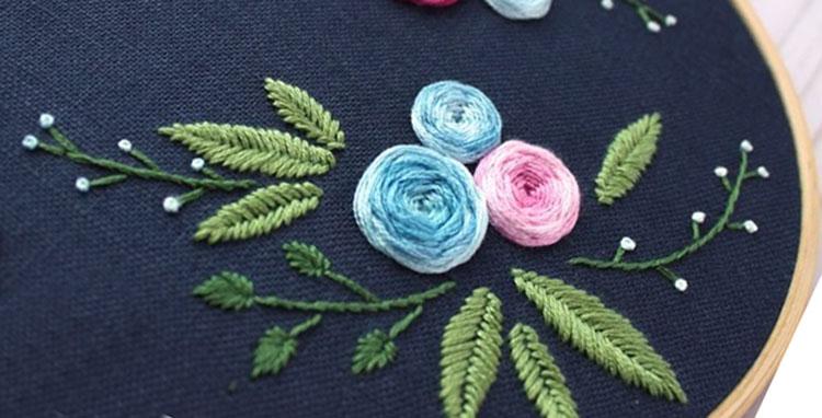 цветы вышитые гладью 12