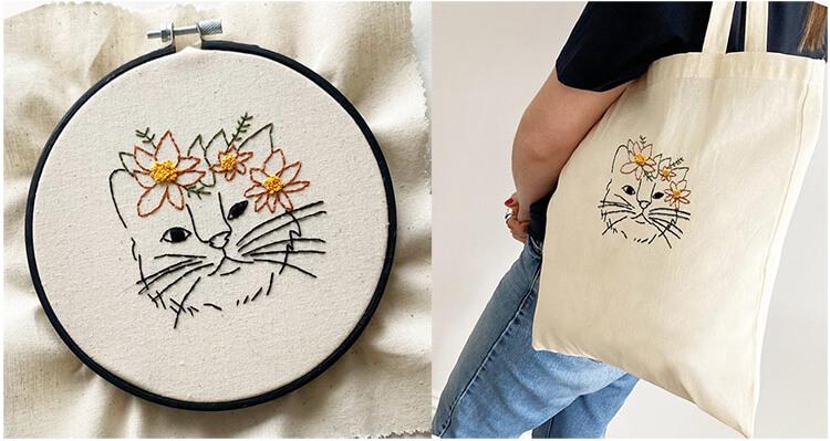 вышивка кошка на сумке
