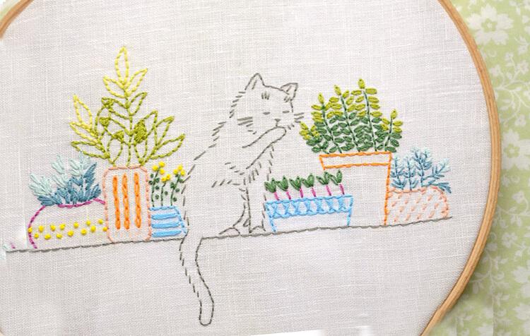 вышивка котенок