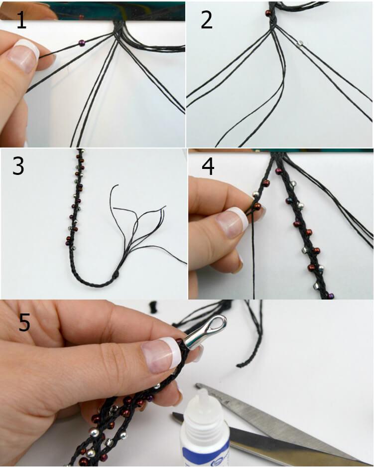 как сделать из нитки браслет легкий черный