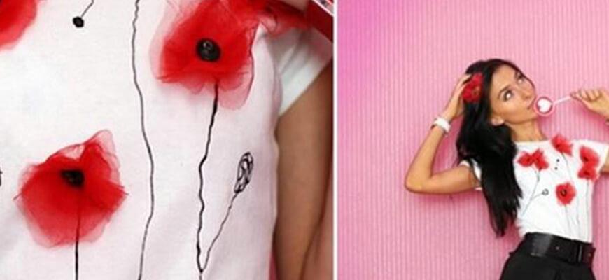 как украсить футболку маками