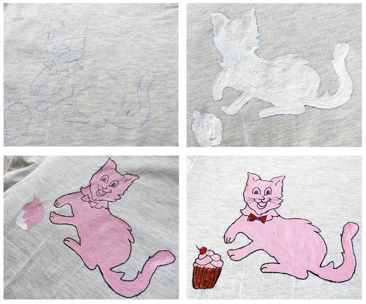 Как украсить однотонную футболку красками