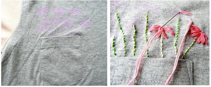 Как украсить футболку вышивкой