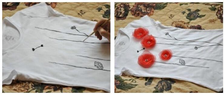 Как украсить футболку