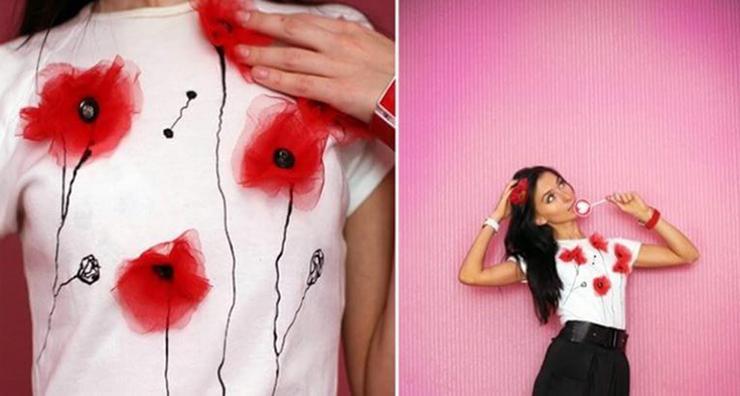 как украсить футболку цветами