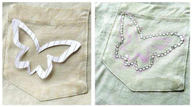 Как украсить белую футболку при помощи трафарета